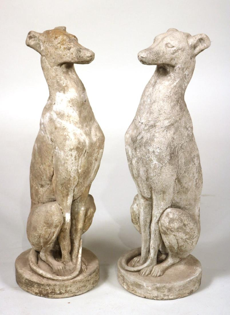 Pair of Cast-Stone Seated Whippets
