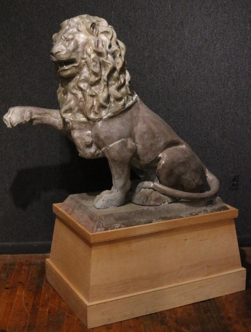 Cast-Metal Seated Lion of Impressive Size