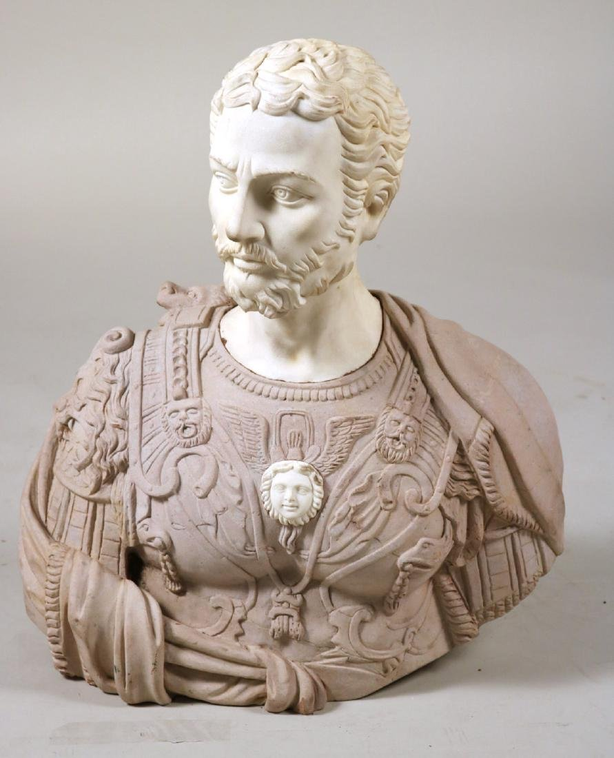Carved Stone and Marble Roman Style Bust
