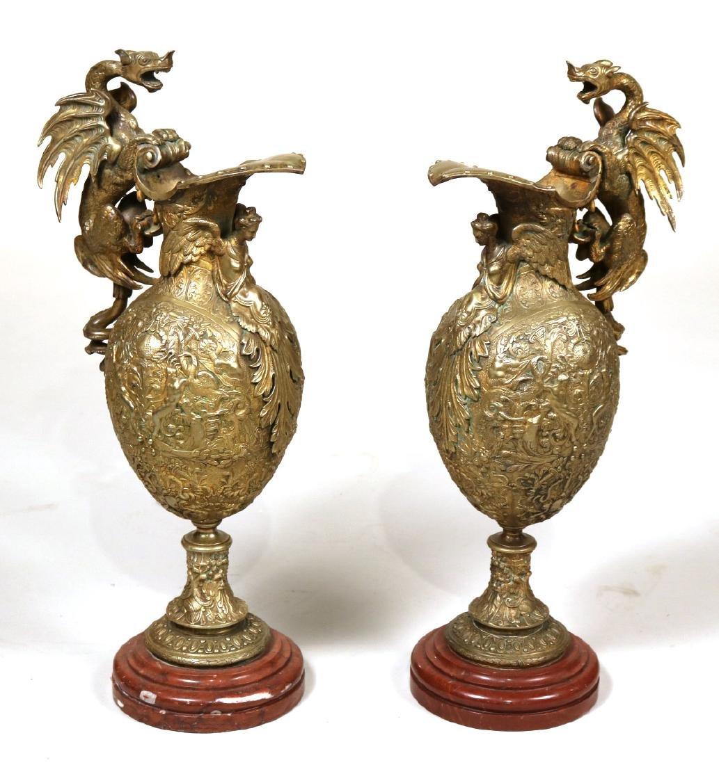 Pair of Bronze Renaissance Style Ewers