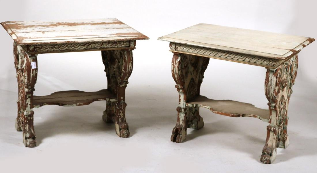Pair of Neoclassical Style Carved Side Tables