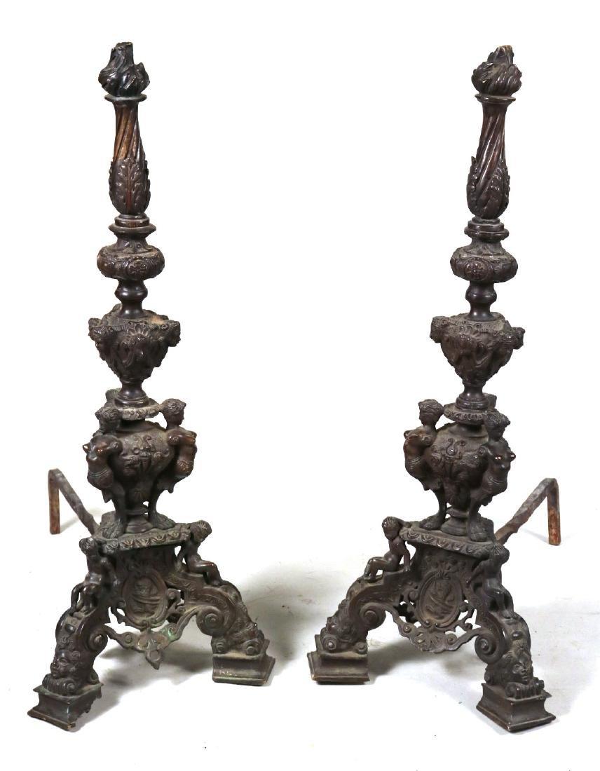 Pair of Renaissance Style Bronze Andirons