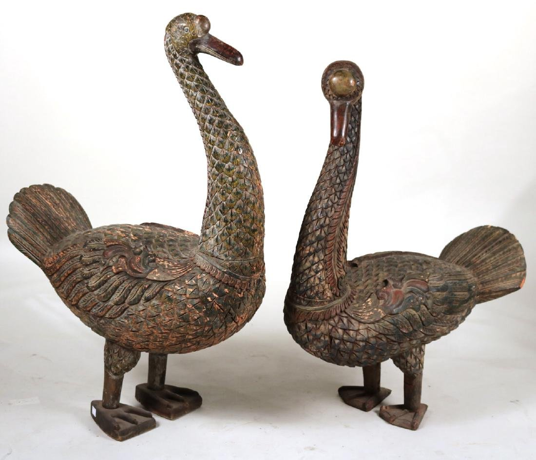 Pair of Polychrome Carved Wood Peacocks