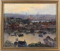 Oil on Canvas Laid on Board Gloucester Harbor