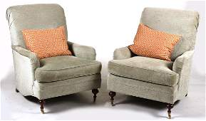 Pair of Contemporary BlueUpholstered Club Chairs