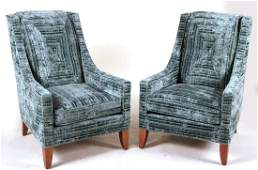 Pair of BlueVelvet Upholstered Club Chairs