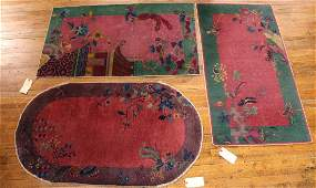 Three Chinese Art Deco Throw Rugs