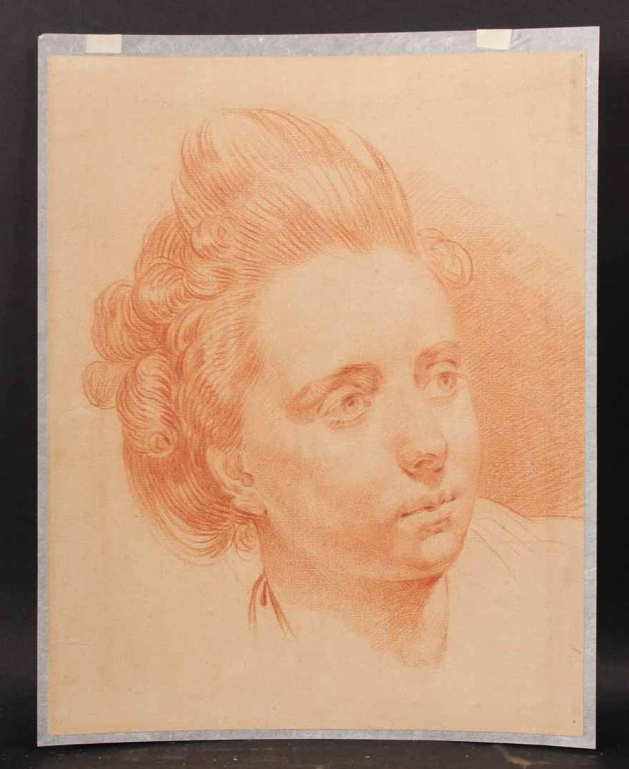 Chalk on Paper, Head of a Woman, Francois Boucher
