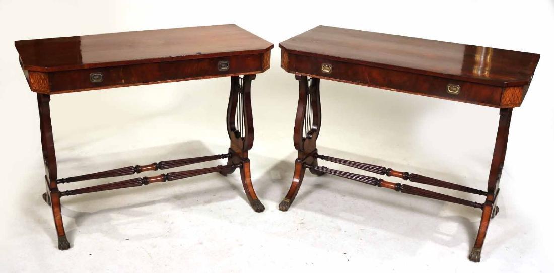 Pair of Regency Mahogany Lyre-Base Pier Tables