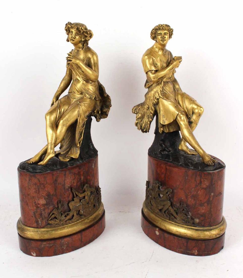 Pair of Cast and Gilt Bronze Figures