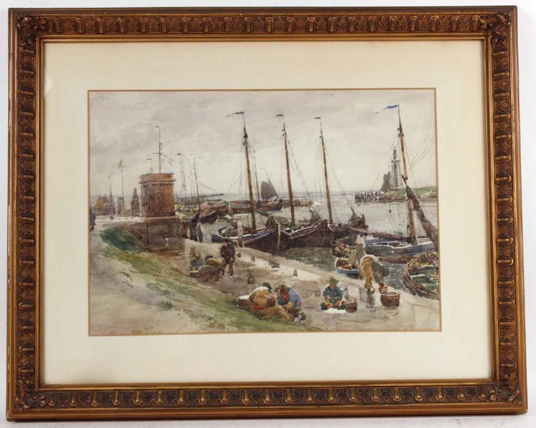 Watercolor, Robert W. Allan, Harbor View