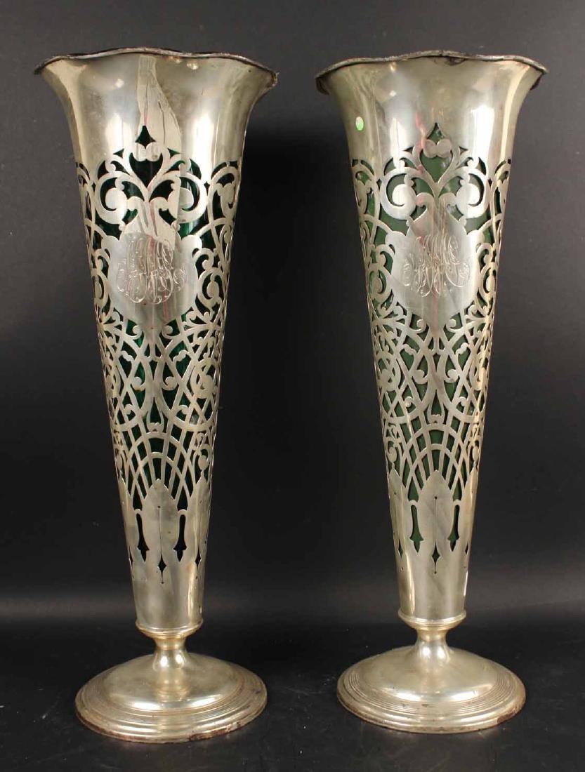 Pair of Gorham Sterling Trumpet Vases