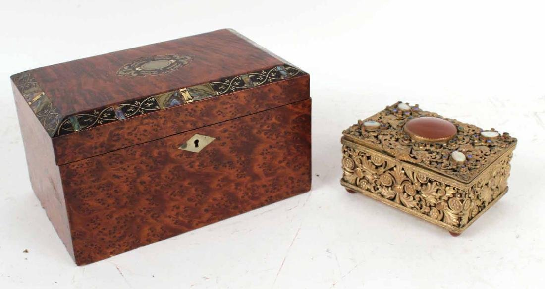 Burlwood and Mother of Pearl Tea Caddy