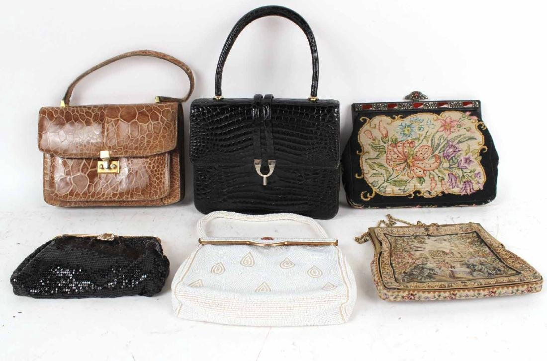Vintage Black French Alligator Handbag