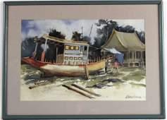 Watercolor, Boat Builders, Bauhaus