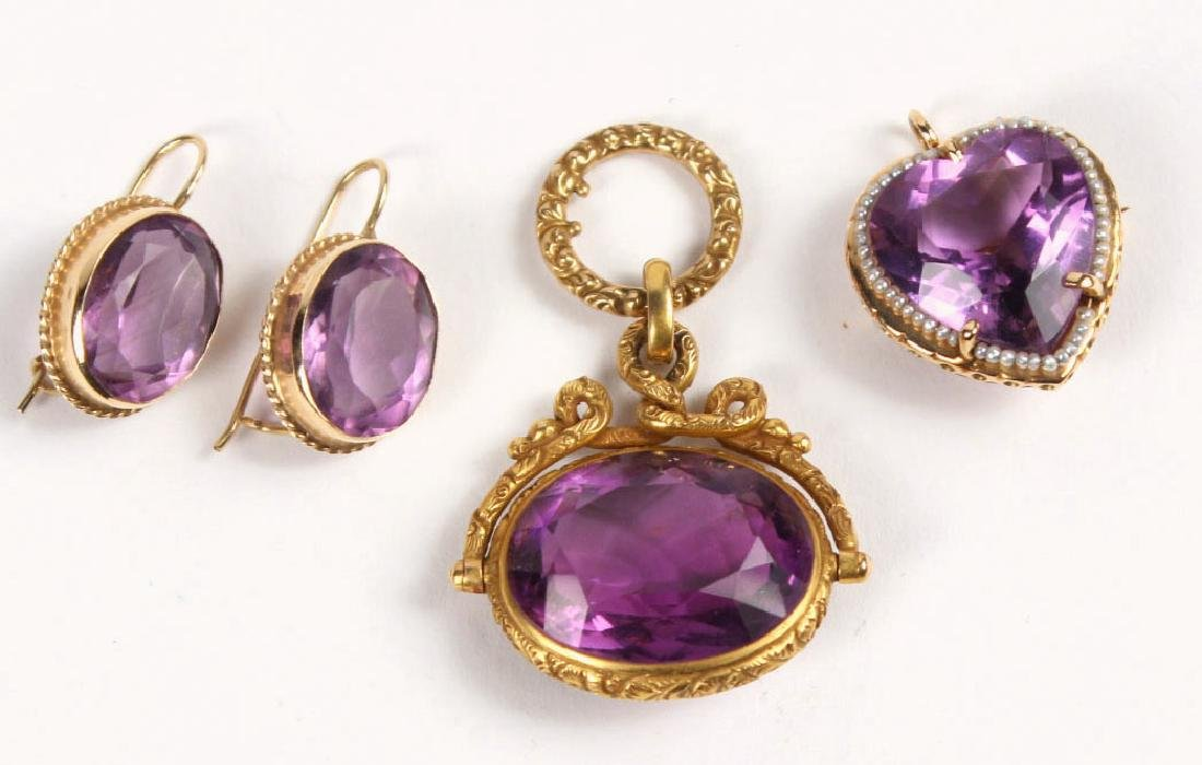 Group of Amethyst & Gold Jewelry