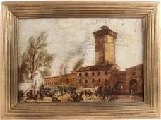 Oil on Canvas, Battle Near Tower