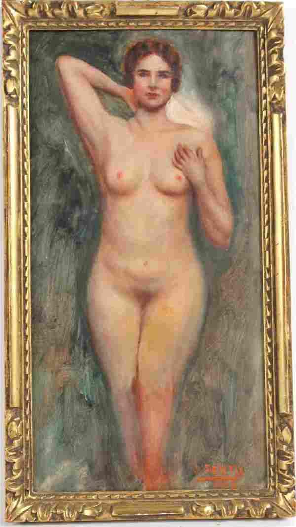 Oil on Board, Nude Woman, Juan A. Sentis