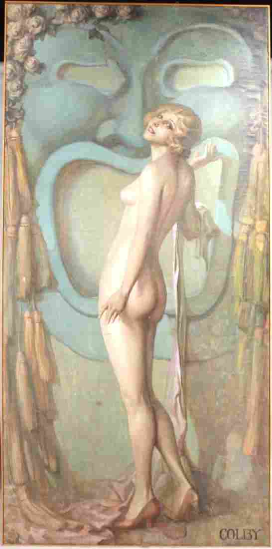 Oil on Canvas on Board, Nude Figure, Colby