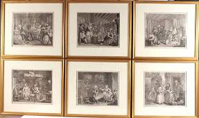 Six William Hogarth Satirical Prints