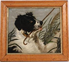 Oil On Canvas Spaniel Dog With Cane