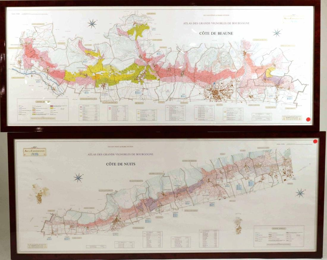 Pair of Maps, Great Vineyards of Burgundy, France