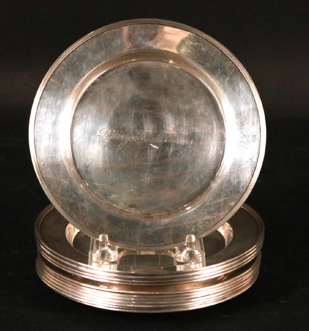 Assembled Set of Twelve Sterling Silver Plates