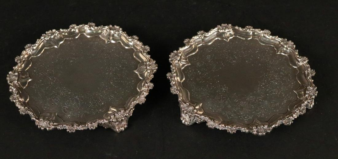 Pair of English Silver Footed Salvers