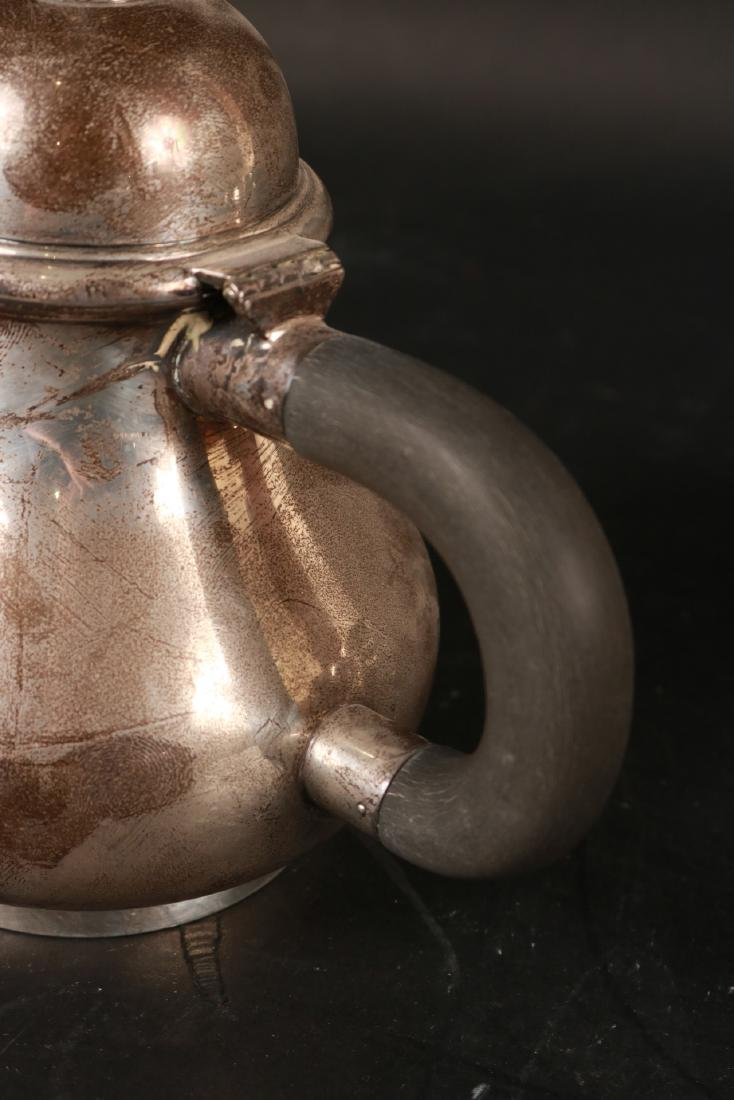 J.E. Caldwell Sterling Silver Teapot on Stand. - 4