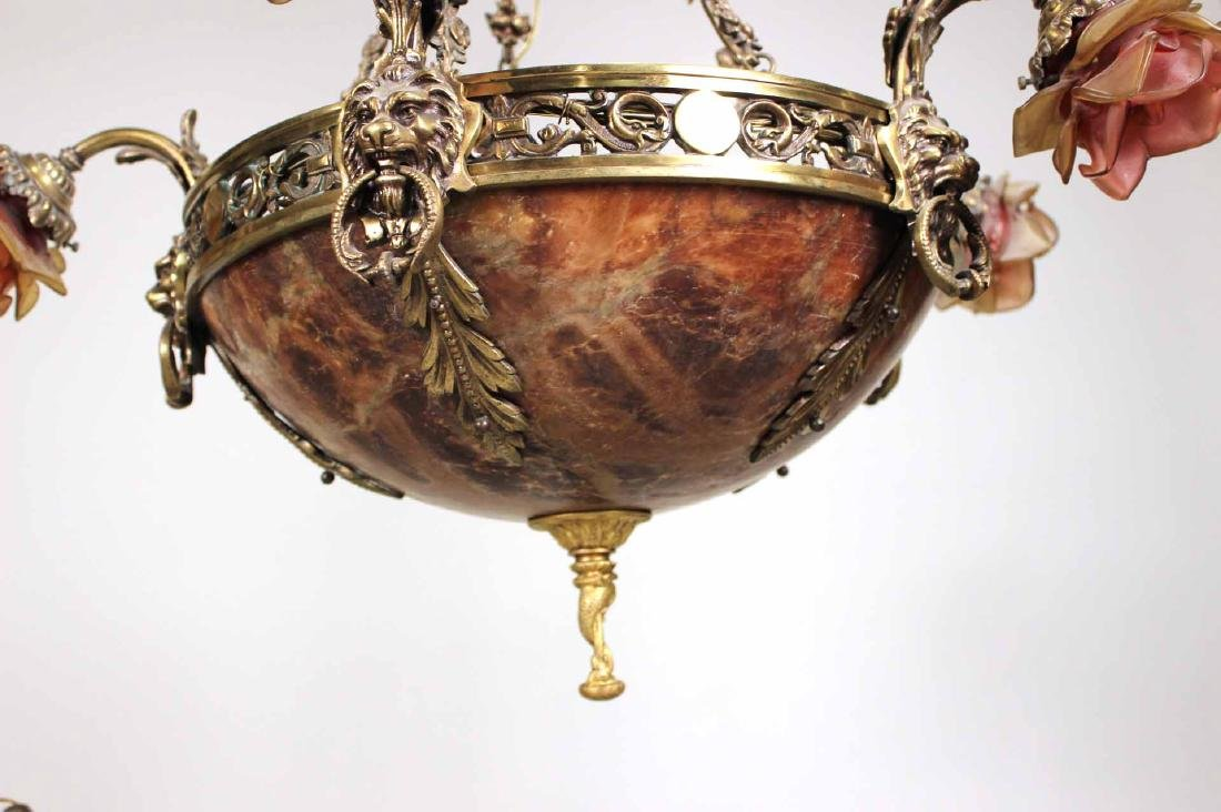 Rococo Style Gilt-Metal Five-Light Chandelier - 8