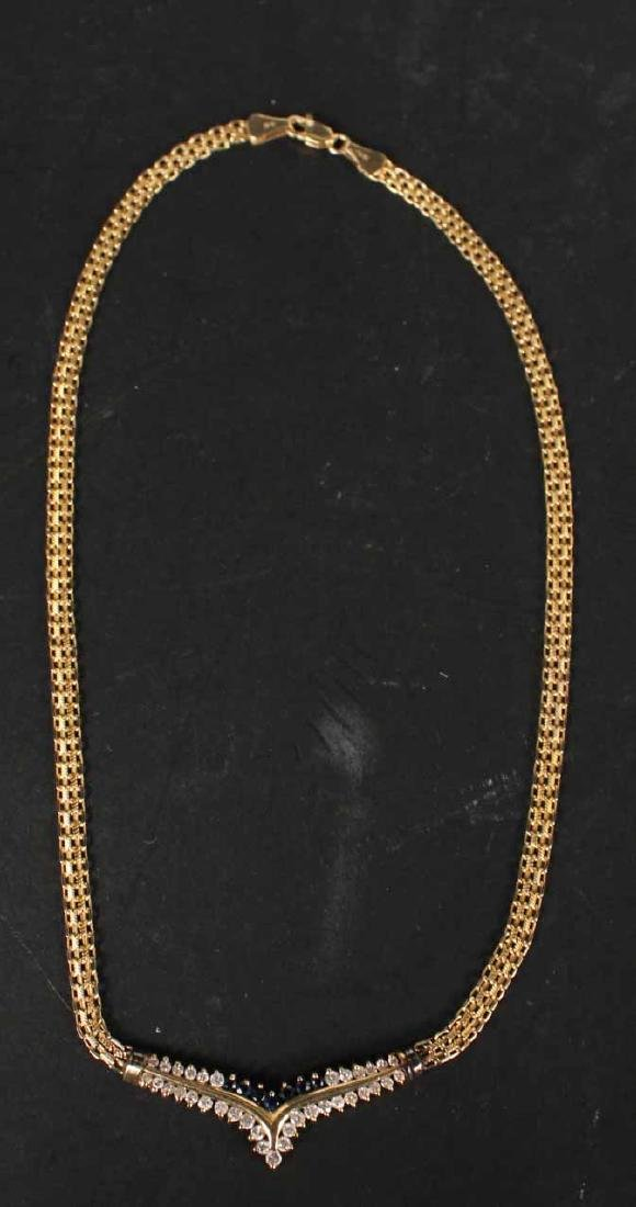 14K Yellow Gold Diamond & Sapphire Necklace