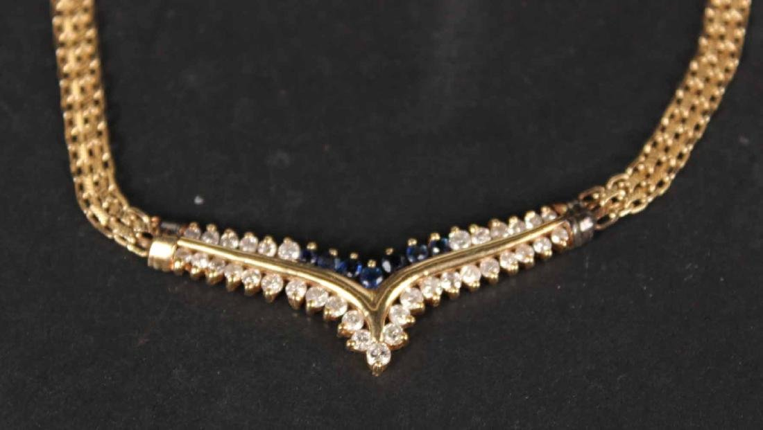14K Yellow Gold Diamond & Sapphire Necklace - 2