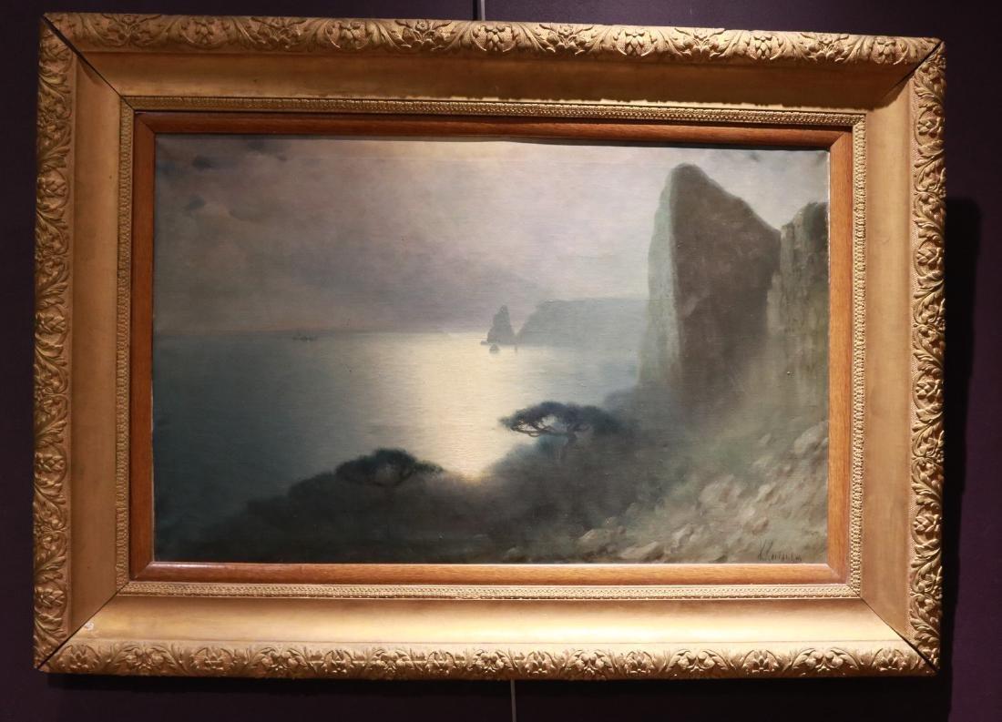 Oil on Canvas, Moonlight Seascape, Kostandi
