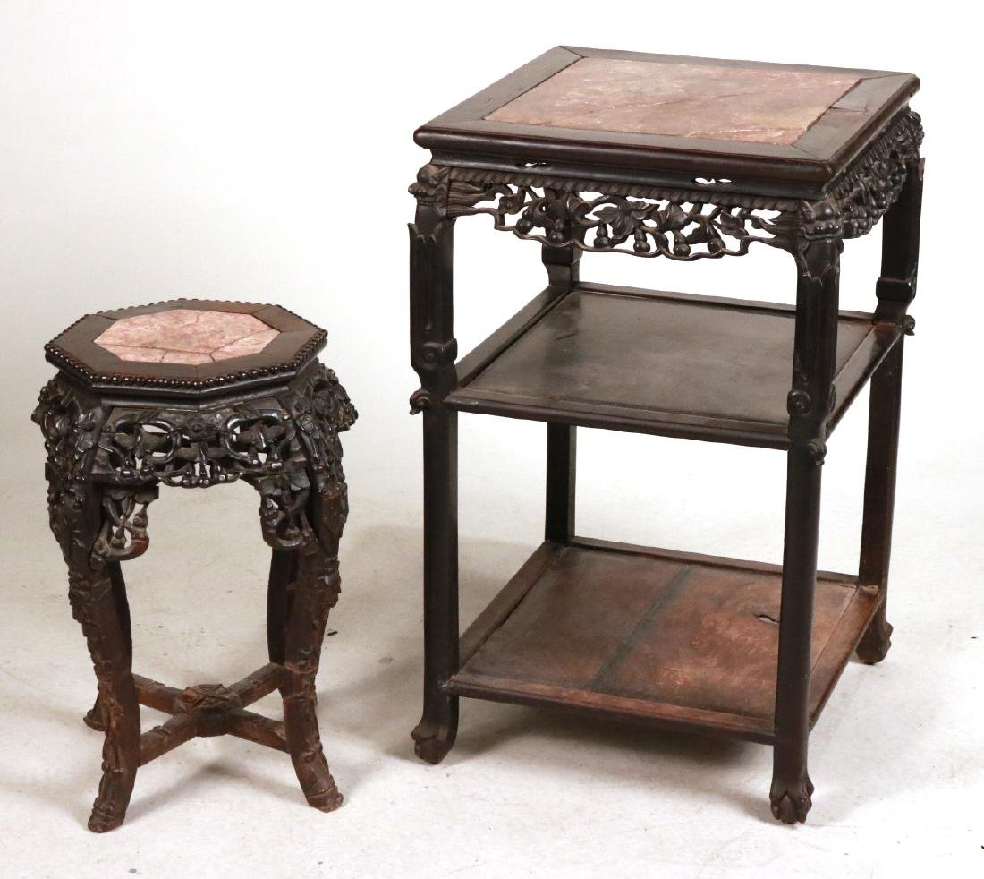 Two Chinese Carved Hardwood & Stone Plant Stands