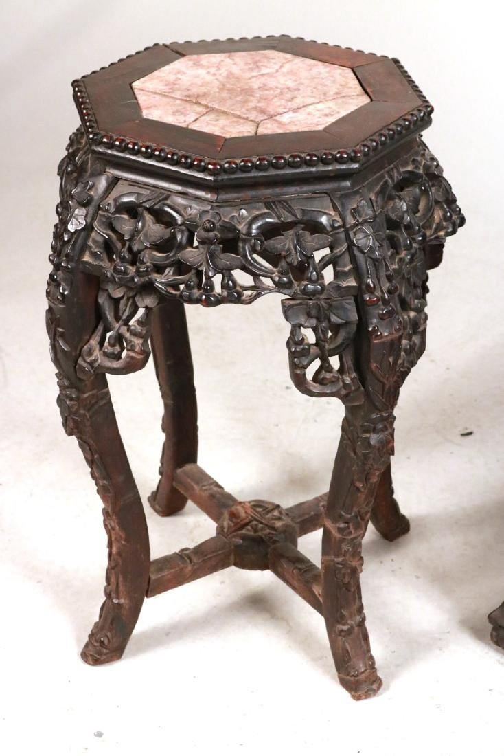 Two Chinese Carved Hardwood & Stone Plant Stands - 2