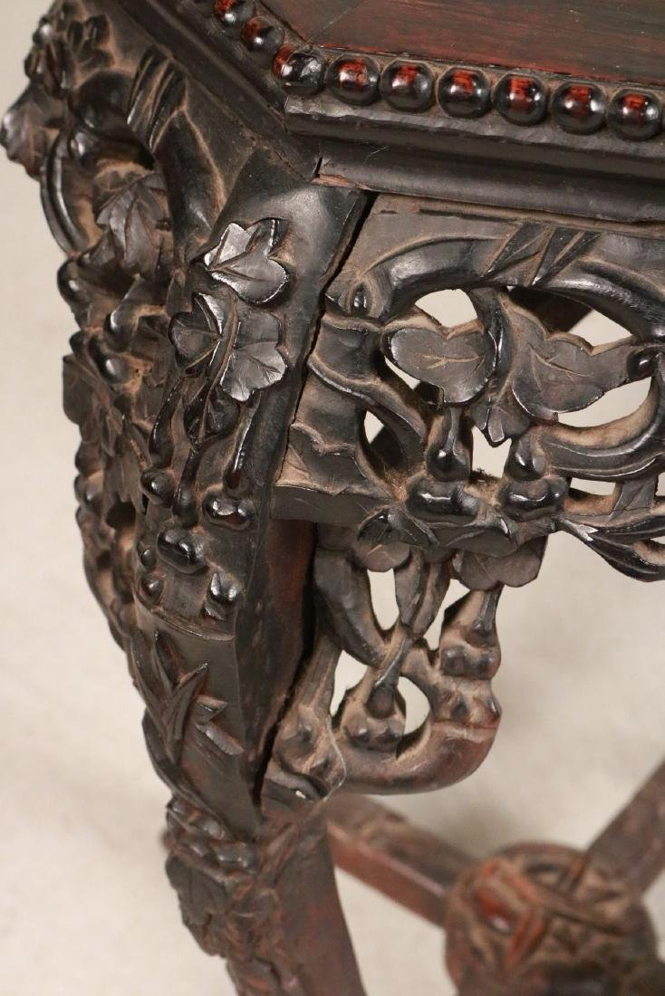 Two Chinese Carved Hardwood & Stone Plant Stands - 3