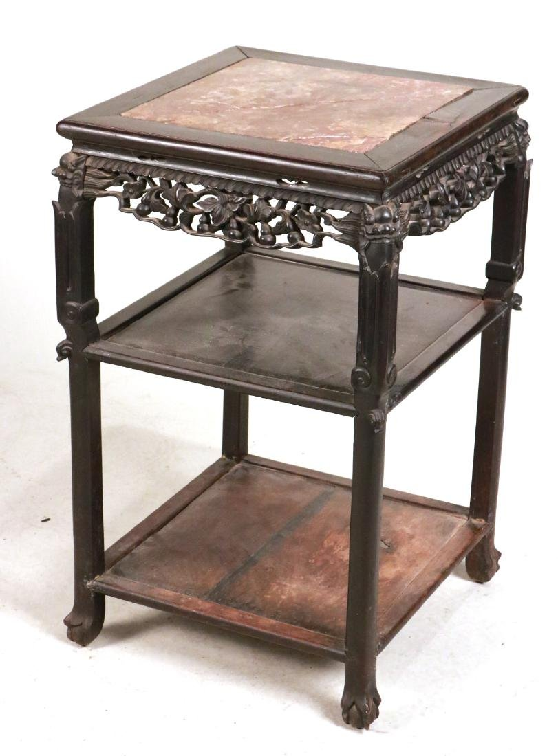 Two Chinese Carved Hardwood & Stone Plant Stands - 6