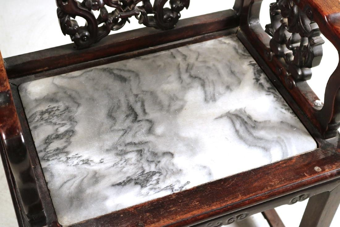 Chinese Carved Hardwood Armchair - 2