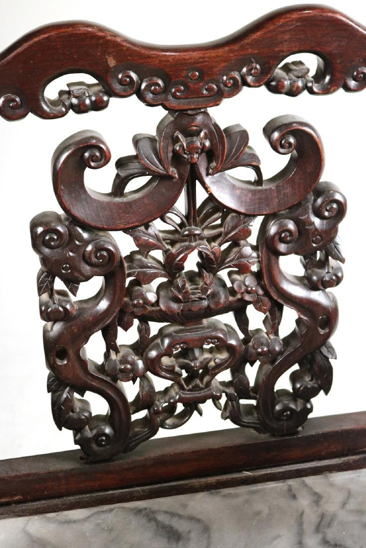 Chinese Carved Hardwood Armchair - 3