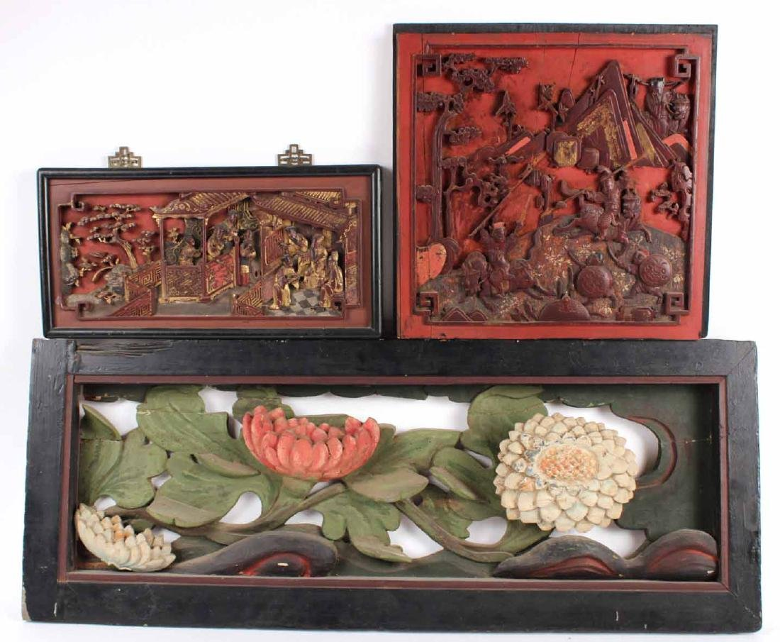 Painted Carved Wood Flowers in Relief
