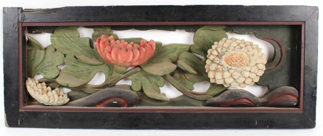 Painted Carved Wood Flowers in Relief - 2