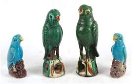 Two Pairs of Chinese Porcelain Parrots