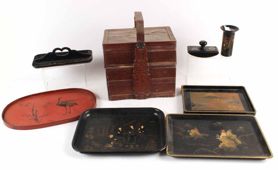 Chinese Carved Bamboo Basket and Trays