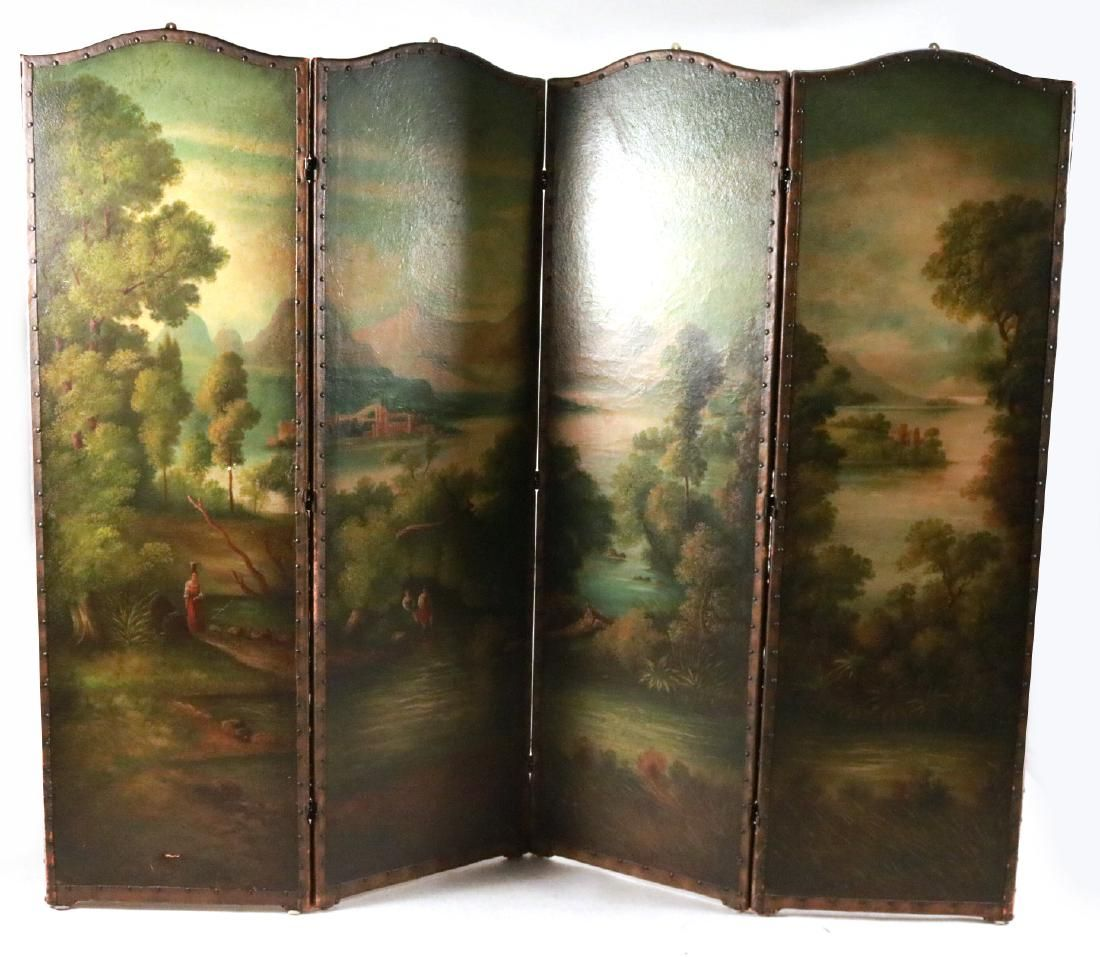 Painted Leather Four-Panel Screen