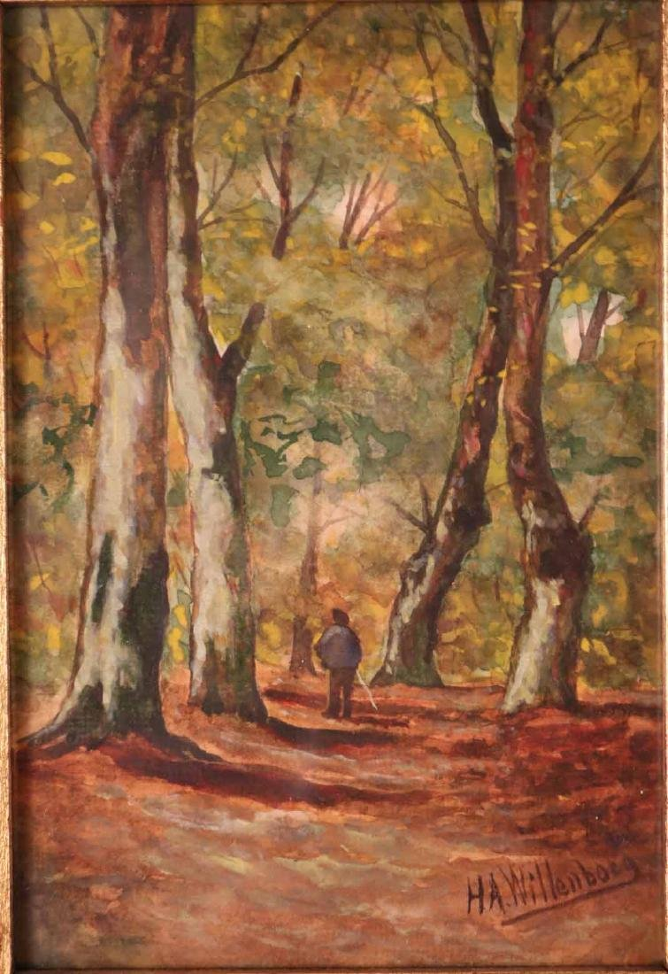 Watercolor, Man in Forest, H.A. Willenborg - 2