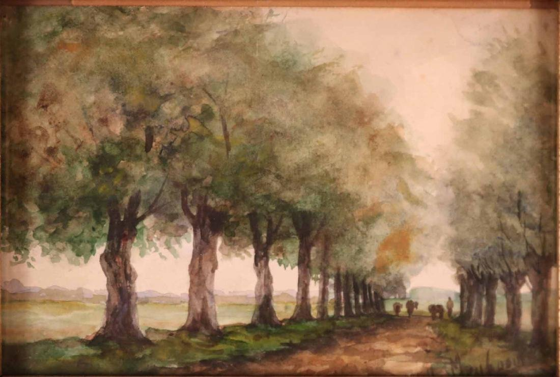 Watercolor, Man in Forest, H.A. Willenborg - 6
