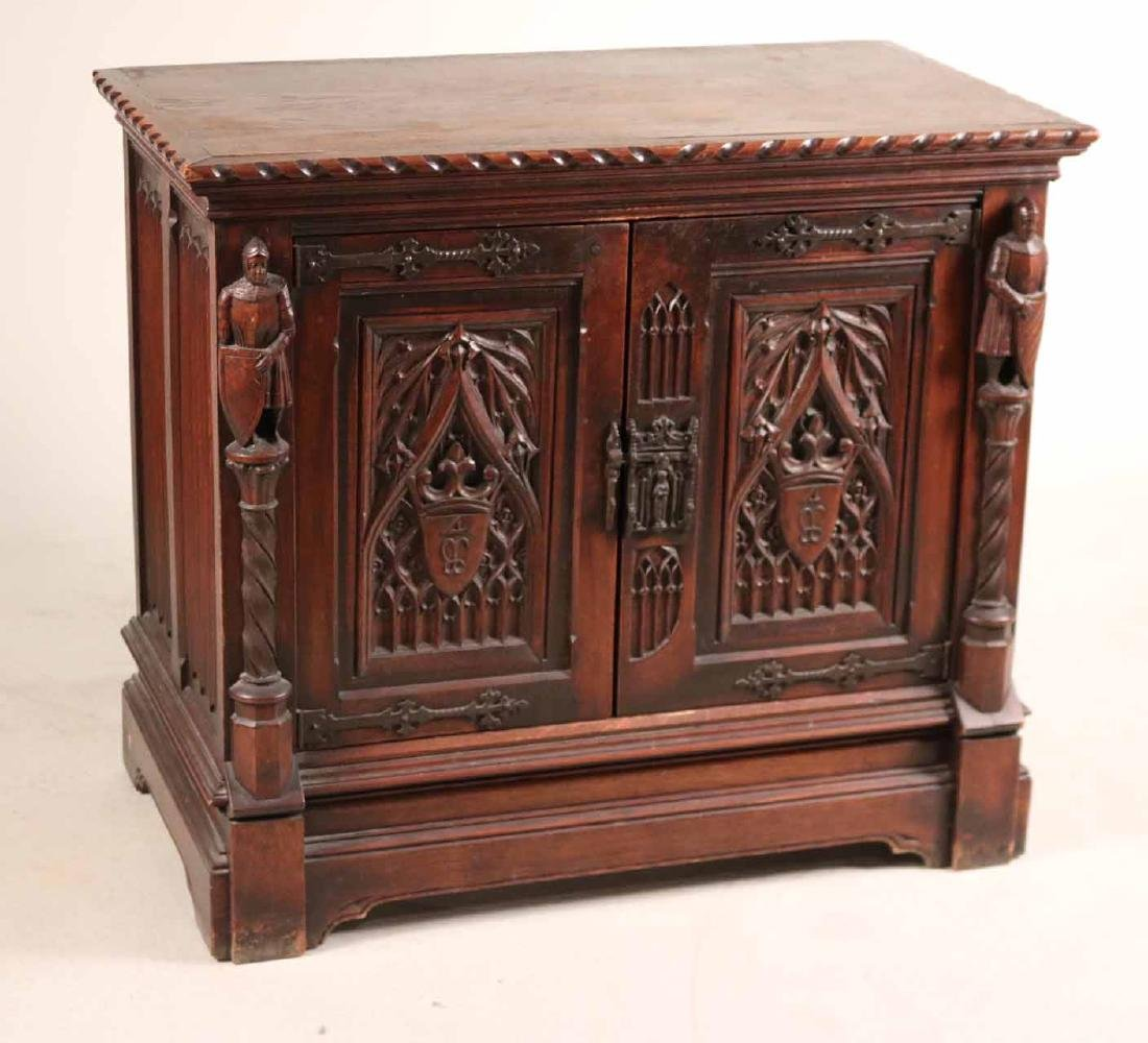 Baroque Style Carved Oak Cabinet