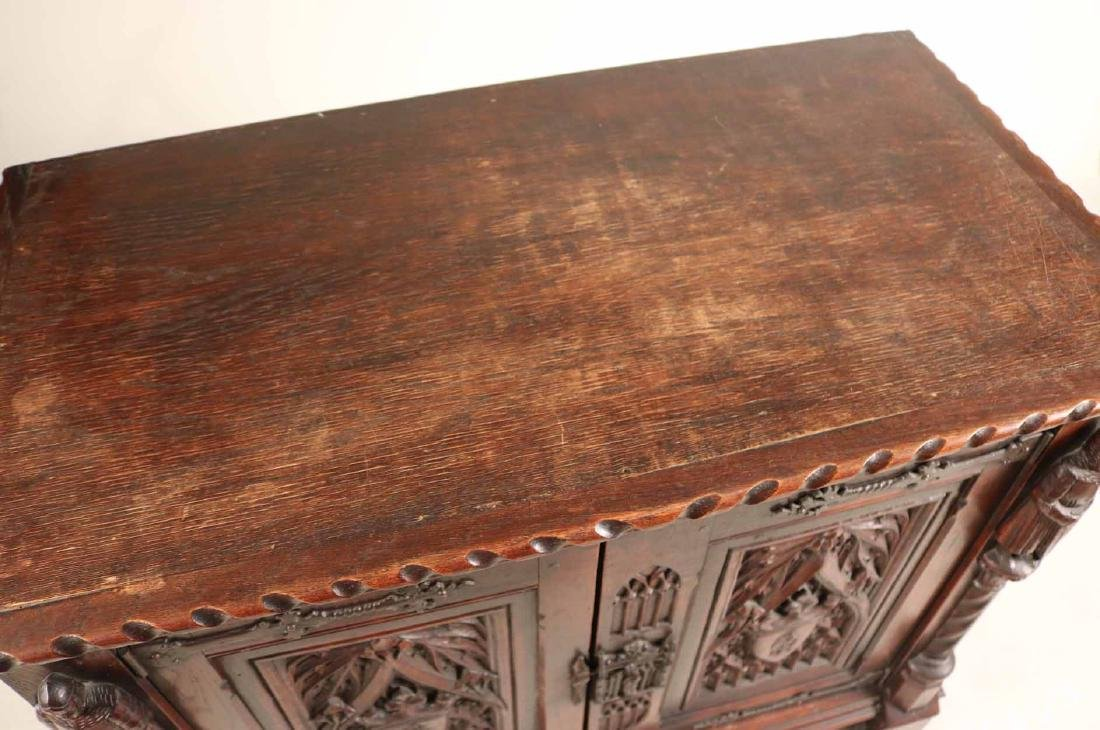 Baroque Style Carved Oak Cabinet - 7