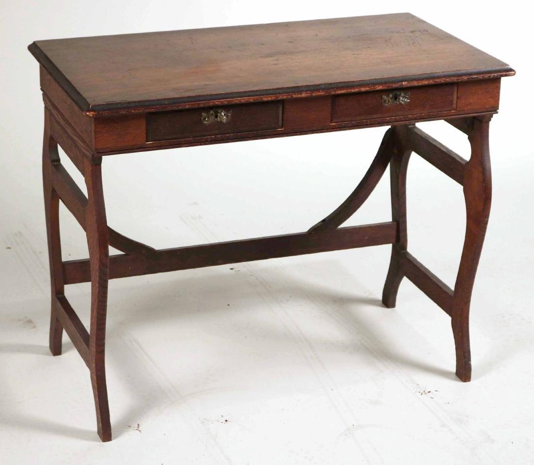 Oak Two-Drawer Side Table