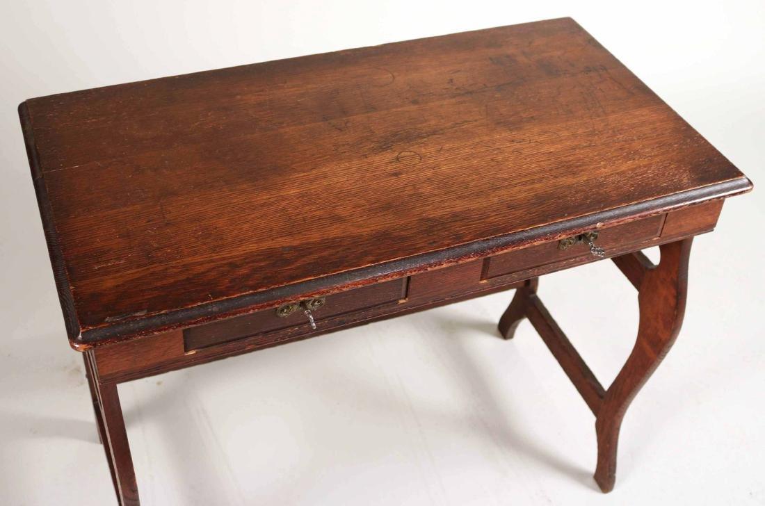 Oak Two-Drawer Side Table - 2